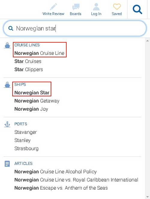 船会社名・船名から評価を検索