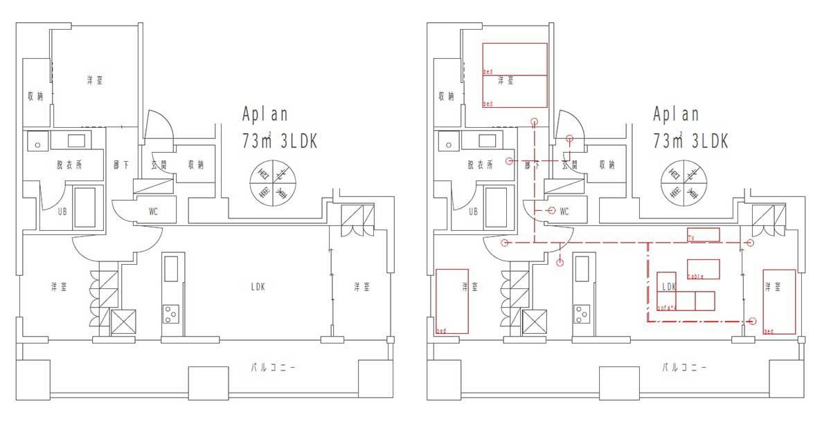 間取りに家具と動線を書き込む
