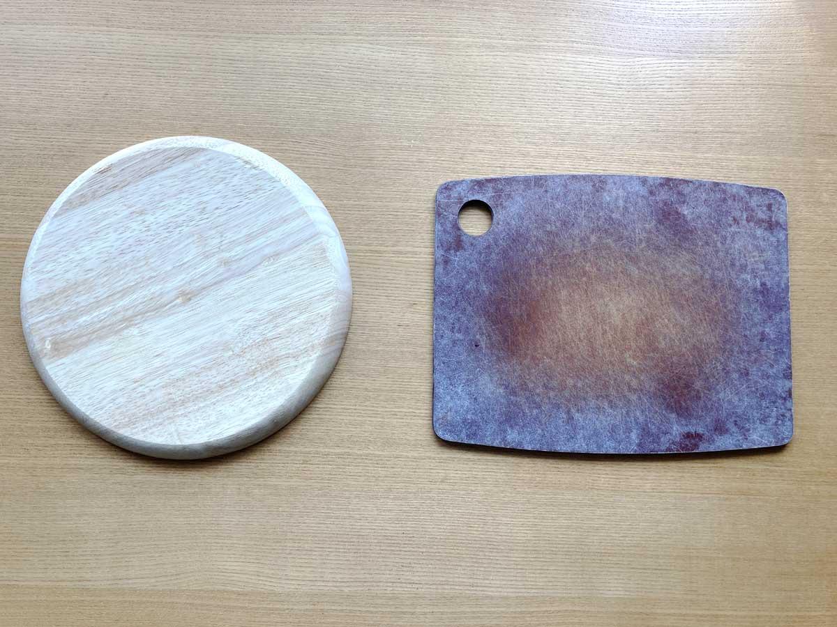 角丸形状ならまな板、円形ならピザ皿が最適