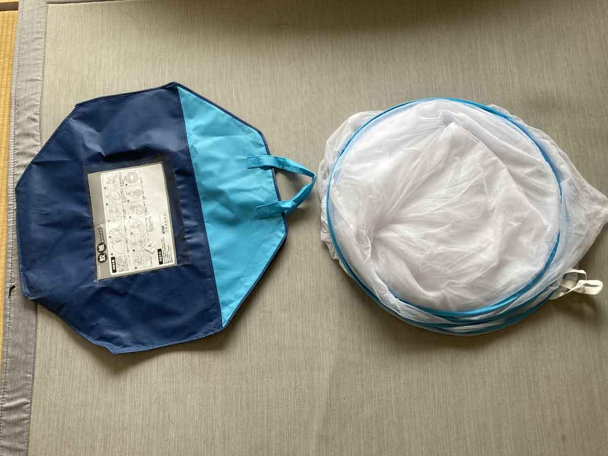 収納袋に入るサイズに畳めました