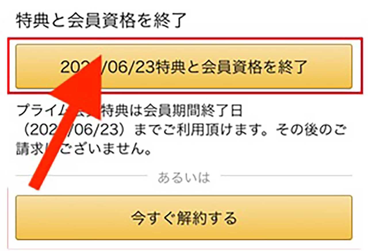 有料1ヶ月コースの場合「○年/○月/○日 特典と会員資格を終了」のボタンを選択